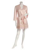 Rya Collection 394 Swan Feathers Satin Kimono Wrap myselflingerie.com