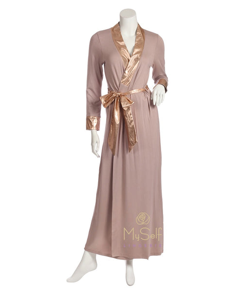 Pierre Balmingo Paris 05-4335-B Mauve Wrap Robe with Rose Gold Accents myselflingerie.com