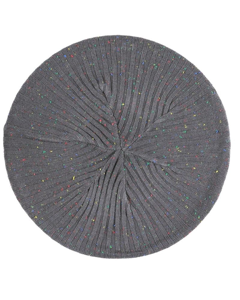 Lizi headwear Ribbed Knit Grey/Colorful Speckled Beret myselflingerie.com