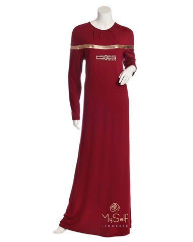 Pierre Balmingo Paris 05-4362-ALL Burgundy Modal Nightgown with Gold Accents myselflingerie.com