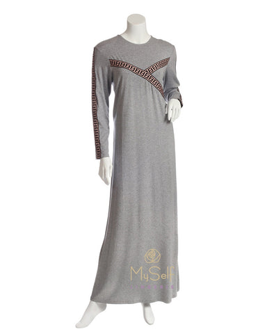 Pierre Balmingo Paris Embroidered Pattern Heather Grey Modal Nightgown