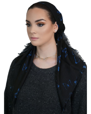 Tie Ur Knot Black/Blue Butterfly Pre-Tied Bandanna with Light Non Slip Grip