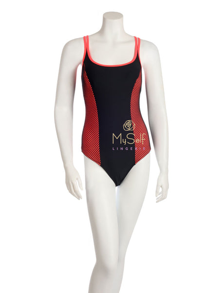 NBB Lingerie 51063 Hot Pink and Black Crossback Swimsuit myselflingerie.com