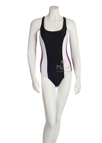 NBB Lingerie 51066 Purple and White Side Stripe Swimsuit myselflingerie.com