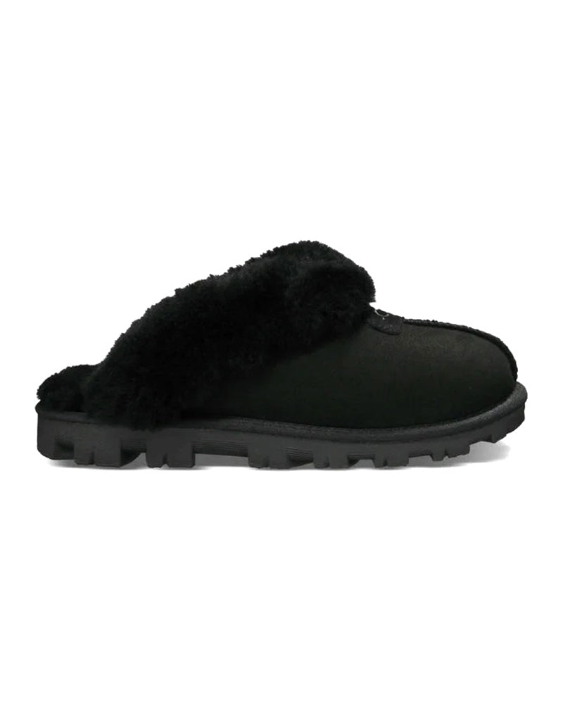 UGG 5125 Black Clog Suede Slippers with Fur Trim myselflingerie.com