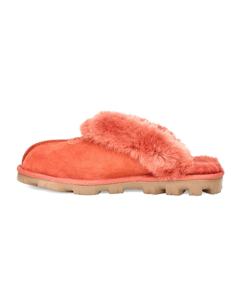 UGG 5125 Terracotta Coquette Clog Suede Slippers with Fur Trim myselflingerie.com