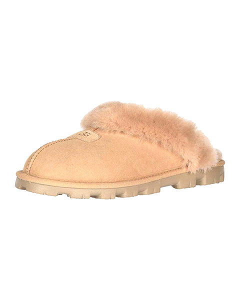 UGG 5125 Bronzer Clog Suede Slippers with Fur Trim myselflingerie.com