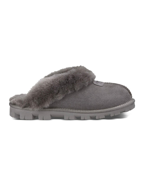 UGG 5125 Coquette Clog Suede Slippers with Fur Trim myselflingerie.com