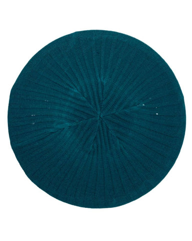 Ribbed Knit Solid Teal Lined Chenille