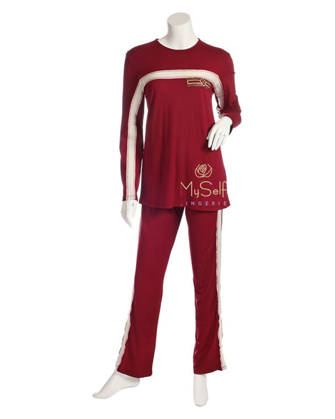 Pierre Balmingo Paris 05-4357-PJL Red Embroidered Stripe Pajamas myselflingerie.com