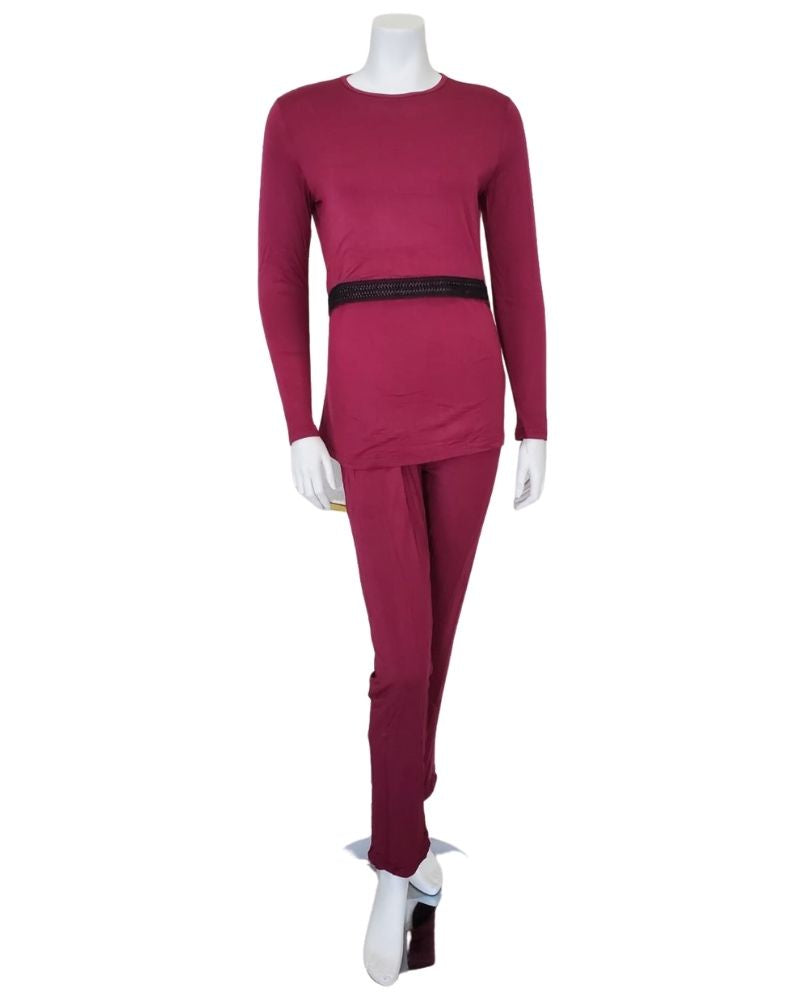 Citrus EL937 Wine Modal Nursing Pajamas Set with Black Trim myselflingerie.com