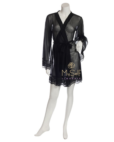 Marc and Andre Paris A9-09PS101-S Black Sheer Short Wrap Robe with Lace Trim MYSELFLINGERIE.COM