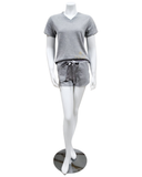 Q81174 Blaire Heather Grey Fleece Lined Modal PJ's Shorts Set