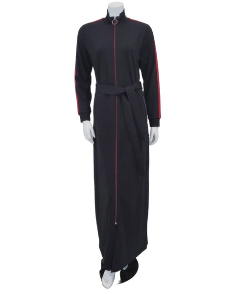 Runelli ABN903 Black Metallic Ribbon Jersey Zipper Front Morning Robe myselflingerie.com