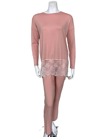 Vanilla Night and Day 3446 Lace Bottom Pink Modal Pajamas Set MYSELFLINGERIE.COM