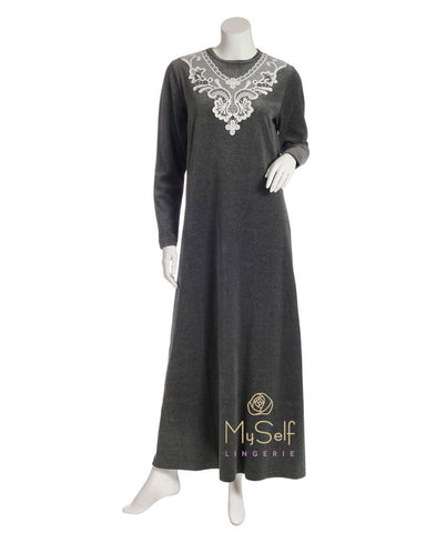 AAN726 Grey Velour Nightgown with Embroidered Neckline