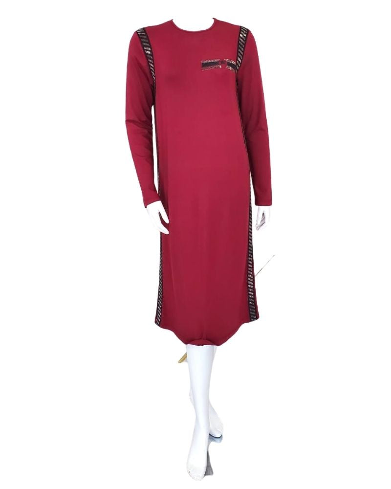 Pierre Balmingo Paris 05-4556A-SL Burgundy /Black Pull On Modal Nightshirt myselflingerie.com