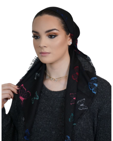 Tie Ur Knot Vibrant Printed Butterfly Black Pre-Tied Bandanna with Light Non Slip Grip