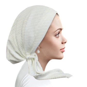 RB5000 Bright White Ribbed Pre-Tied Bandanna