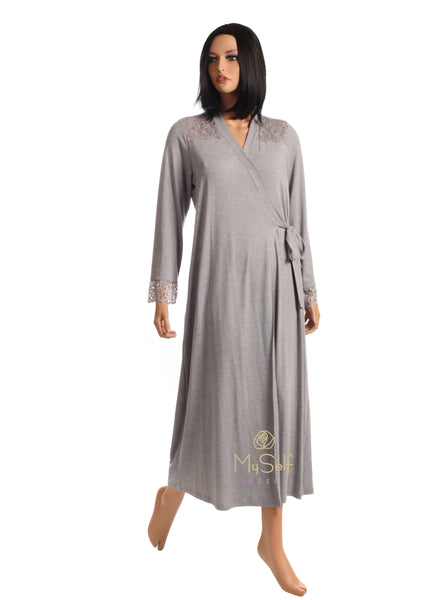 Eva Show ES1007 Long Morning Robe Wrap myselflingerie.com