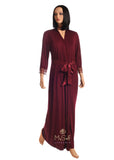 Fleur't 5930 Lace Trimmed Modal Long Morning Robe MYSELFLINGERIE.COM