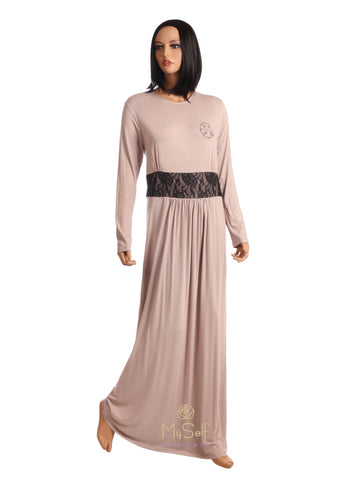Pierre Balmingo Paris 05-4231A Mauve Nightgown with Black Lace Trim myselflingerie.com