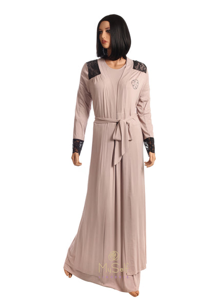 Pierre Balmingo Paris 05-4231W Mauve Wrap Robe with Black Lace Trim myselflingerie.com