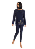 vanilla night and day 3051 Navy Butterfly Effect Organza Pajamas myselflingerie.com