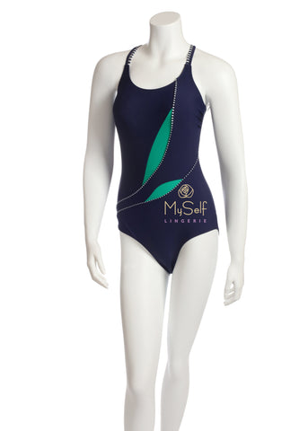 NBB 50750 Green Leaves Navy Bathing Suit MYSELFLINGERIE.COM
