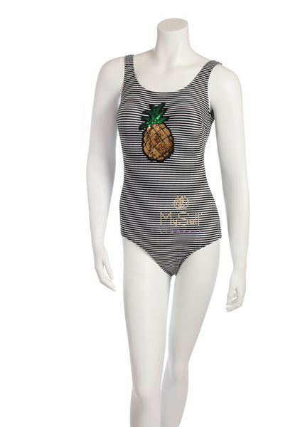 NBB 50885 Black and White Striped Swimsuit with Pineapple Sequin Print myselflingerie.com
