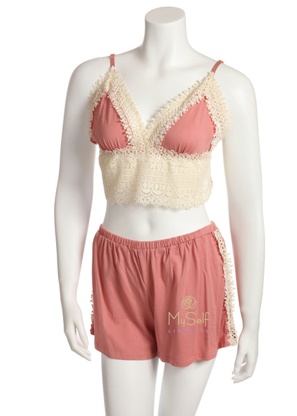 Flora Nikrooz Q80700 Edie Embroidered Bralette and Shorts Set MYSELFLINGERIE.COM