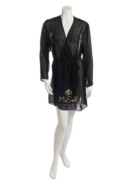 rya collection 173 Basic Sheer Organza Short Robe MYSELFLINGERIE.COM