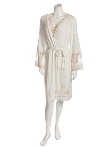 VANILLA NIGHT AND DAY 3012.1 Lace Sleeve Short Robe myselflingerie.com