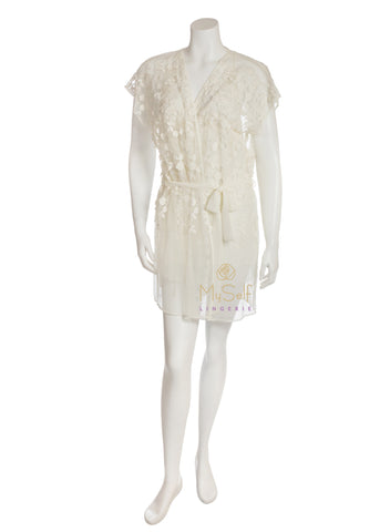 Q80480 Ivory Evette Lace Flowers Robe