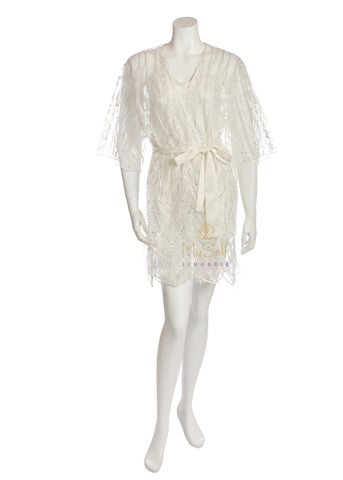 RYA COLLECTION 204 Showgirl Feathers and Crystals Ivory Cover Up MYSELFLINGERIE.COM