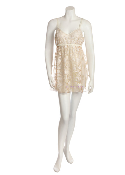 RYA COLLECTION 146 White Exposed Short Chemise myselflingerie.com