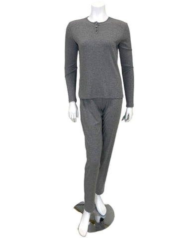 Angelice Light Grey Bamboo Modal Ribbed Pajamas Set