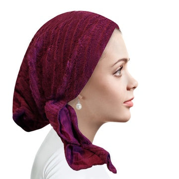 Ahead Grape Berry Ribbed Terry Pre-Tied Bandanna