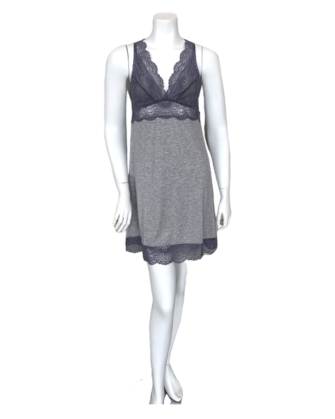 Fleur't 6010 Heather Grey/Crystal Grey Lace Racerback Chemise MYSELFLINGERIE.COM