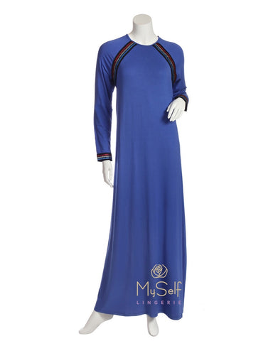 Pierre Balmingo Paris 05-4361-ALL Royal Blue Sparkle Trim Nightgown myselflingerie.com
