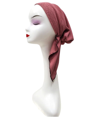 Mauve Ribbed Unlined Pre-Tied Bandanna