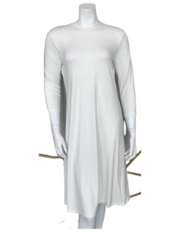 "S6029 Ivory 3/4 Sleeve 40"" Shell Dress"