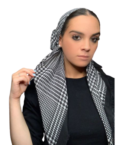 Basic Houndstooth Pre-Tied Bandanna with Light Non Slip Grip