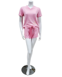 Q81174 Blaire Carnation Fleece Lined Modal PJ's Shorts Set