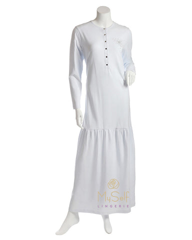 Nico Italy AAN822 Snap Front Skirted White Nightgown MYSELFLINGERIE.COM