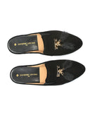Jacques Levine Black Tea Genuine Suede Slippers with Tassels myselflingerie.com