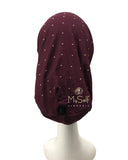 C. Bird CB21 Gold Studs Burgundy Cotton Beanie Snood MYSELFLINGERIE.COM