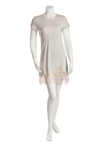 Me Moi CNS04485 Pink Lace Trim Ruched Nightshirt myselflingerie.com