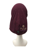 C. Bird CB22 Rhinestones Burgundy Cotton Beanie Snood myselflingerie.com
