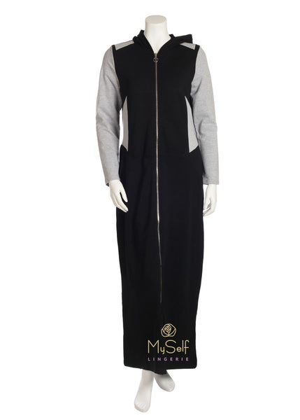 Citrus EL812 Grey and Black Colorblock Hooded Zip Up Robe myselflingerie.com